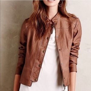 Anthropologie Vegan Leather Bomber Jacket